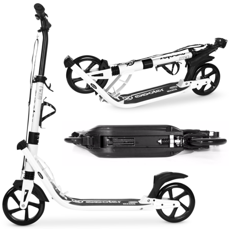 - EXOOTER M2050WB 9XL Adult Cruiser Kick Scooter With Dual Suspension And 200mm Black Wheels In White Finish.