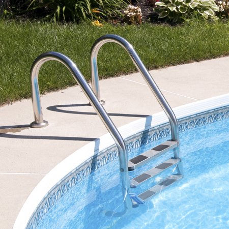 Gymax 3 Step Stainless Steel In-Ground Swimming Pool Ladder Anti-Slip Reverse Bend