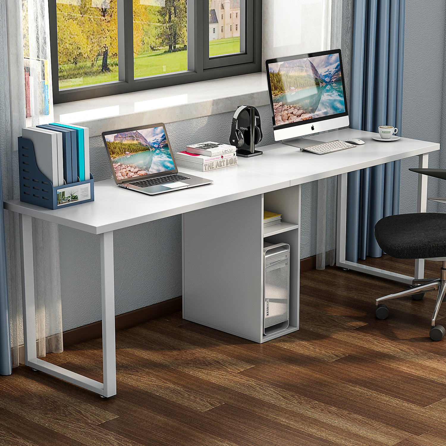 "Tribesigns 78"" Extra Large Double Workstation Computer Desk for Two Person, Simple Modern Style Office Desk with Storage and Cabinet Works as Study Table or Writing Desk, White"