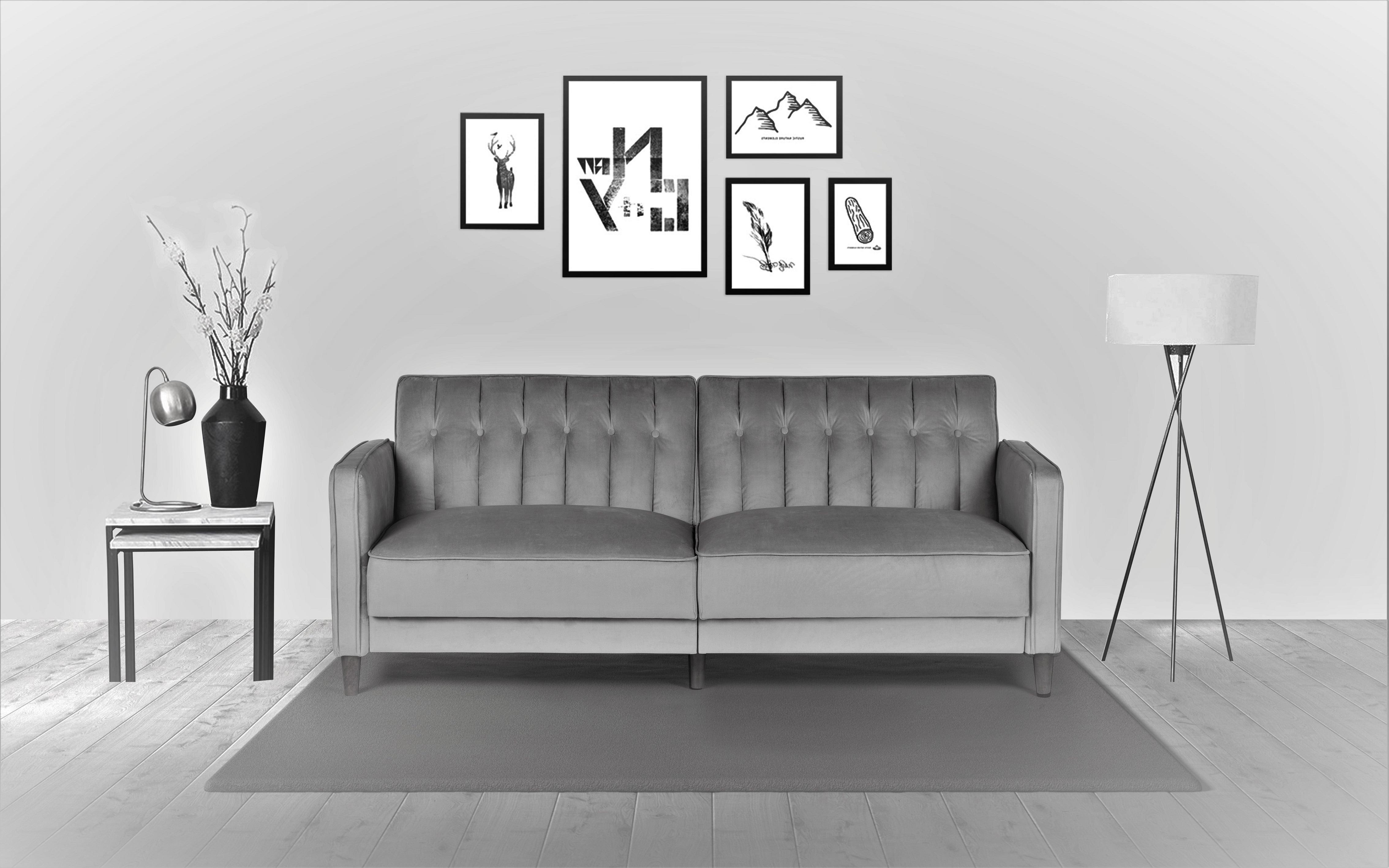 US Pride Furniture Mariposa Luxury Mid-Century Contemporary Sofa Bed  Design, Grey