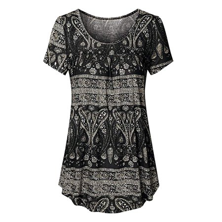 Nlife Women's Floral Print Short Sleeve Solid Color Asymmetric (Asymmetric Sleeve Top)
