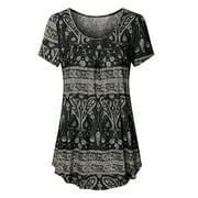 Nlife Women's Floral Print Short Sleeve Asymmetric Top