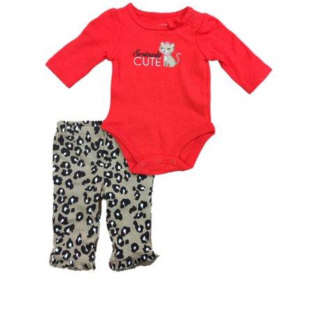 Red And Cheetah Outfits (Infant Toddler Red Kitty Cat Kitten Bodysuit Cheetah Animal Leggings 2-PC)