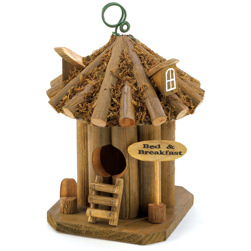 Wooden Birdhouses, Small Bed And Breakfast Outdoor Wood Birdhouse Decor by Songbird Valley