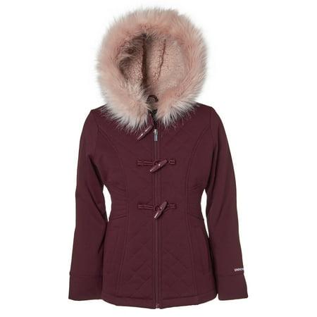 (Quilted Structured Fleece Coat with Fur Trim Hood (Little Girls & Big Girls))