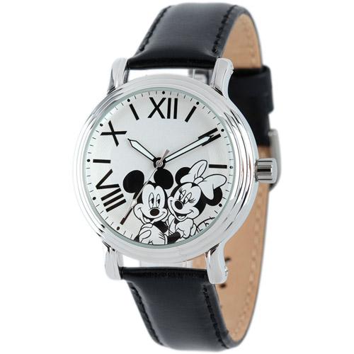 Disney Mickey & Minnie Women's Shinny Silver Vintage Articulating Alloy Case Watch, Black Leather Strap