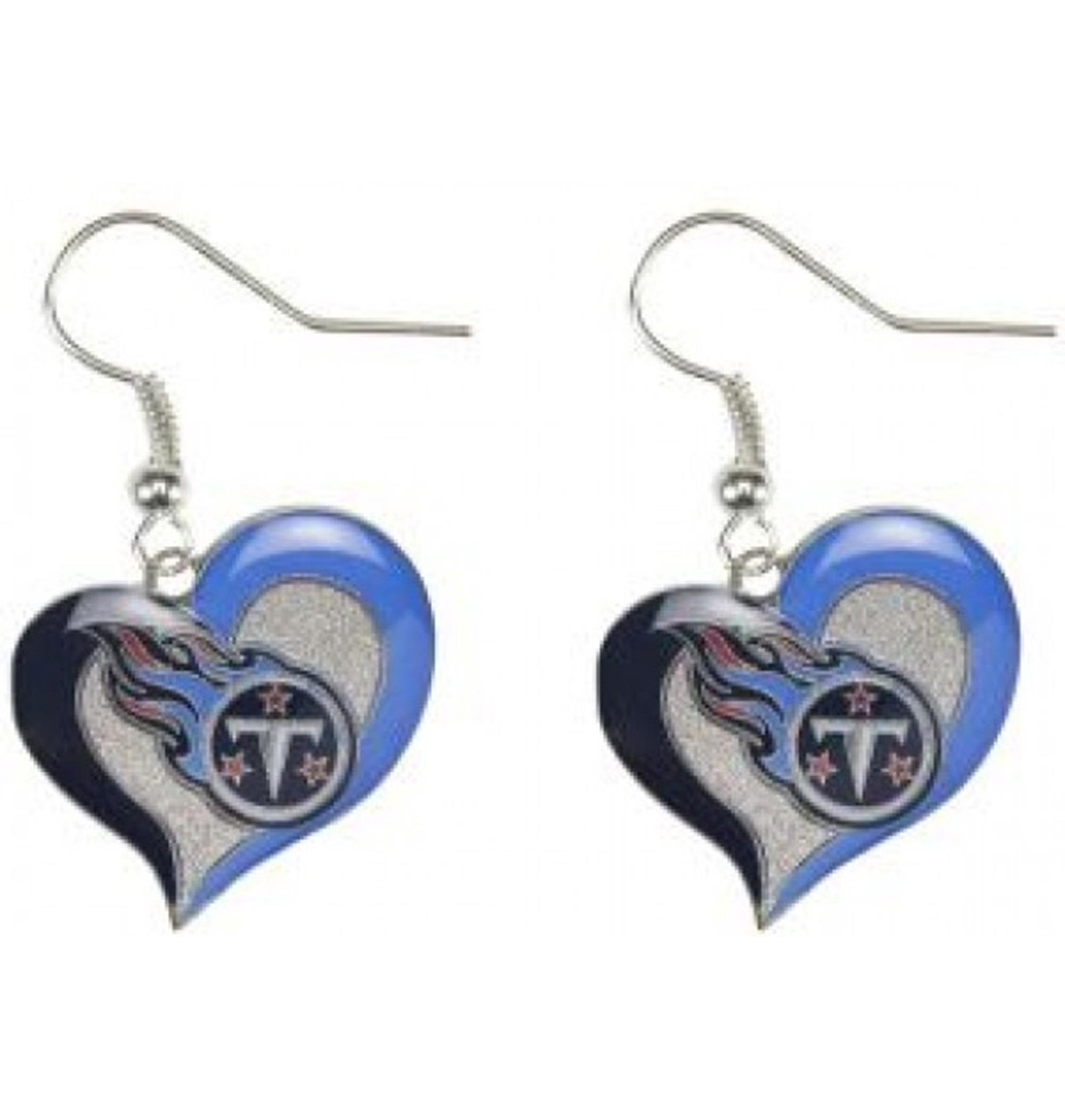 Licensed NFL Swirl Heart Earrings Dangle Charm Team Logo SELECT YOUR TEAM w/Gift Box from Superheroes