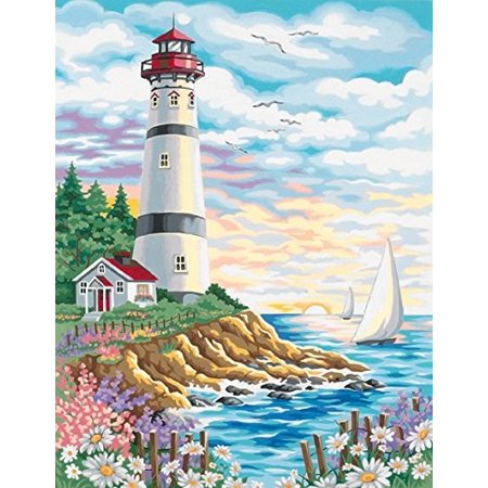 dimensions needlecrafts paintworks paint by number, lighthouse at sunrise (91164)