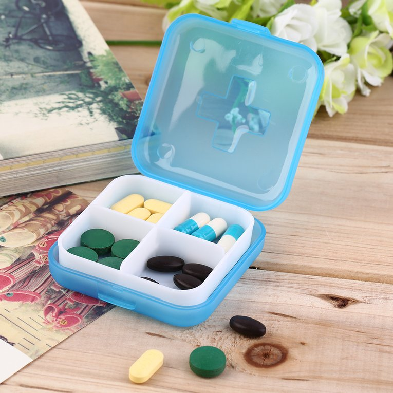 Removable Health Medicine Case Medical Pill Holder Box Portable 4 Slot Case Storage