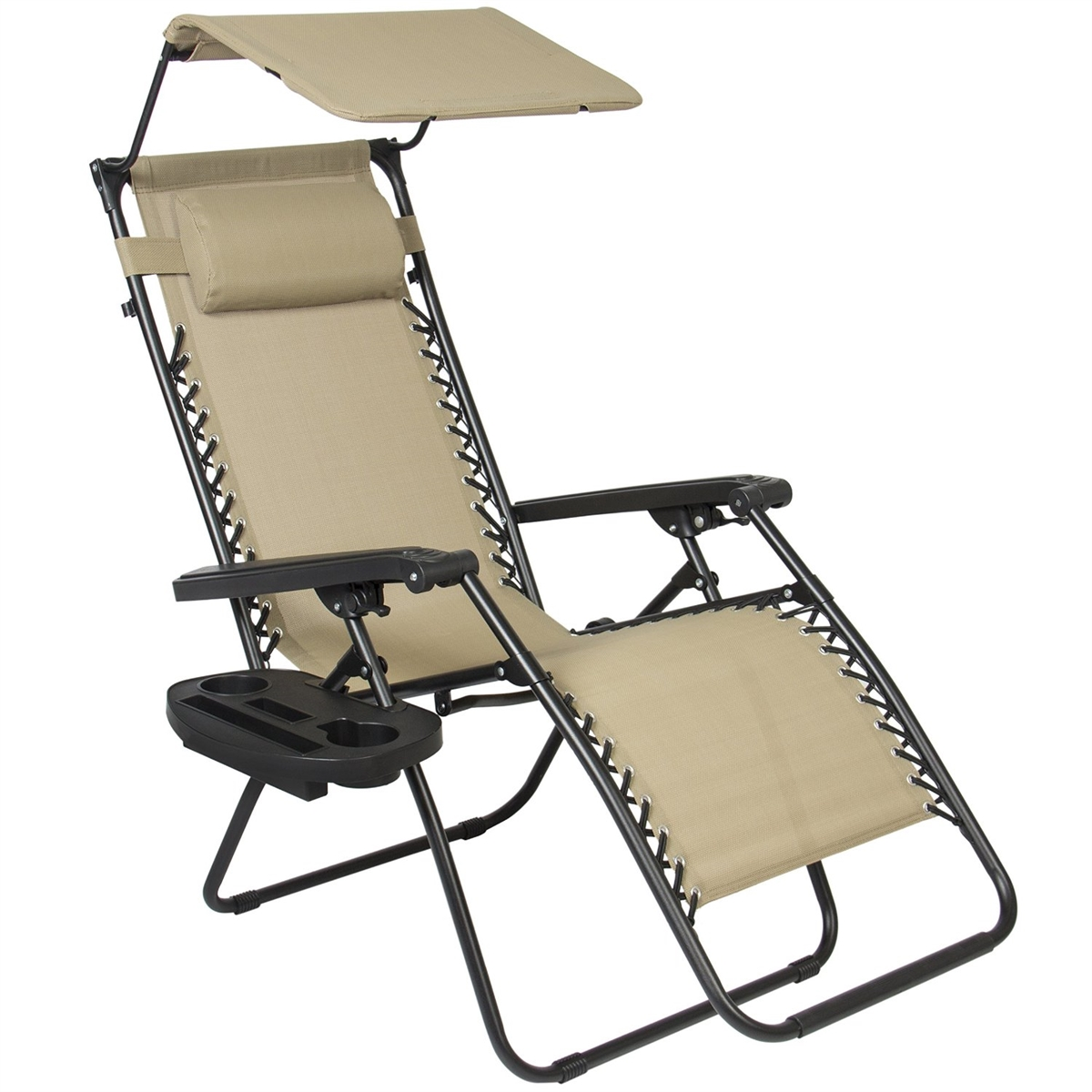 Zero-Gravity Canopy Lawn & Patio Chair with Sunshade and Cup Holder - Beige