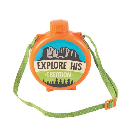 Fun Express - Wild Encounters Vbs Canteens - Party Supplies - Drinkware - Water Bottles & Canteens - 8 Pieces (Vbs Supplies)