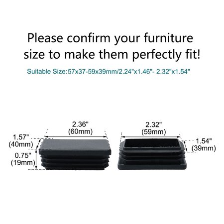 24pcs 40 x 60mm Plastic Rectangle Ribbed Tube Inserts End Cover Cap Furniture Table Feet Floor Protector - image 4 de 7