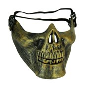 Bauer Pacific Imports - Cool Molded Half Face Skull Costume Mask - Gold