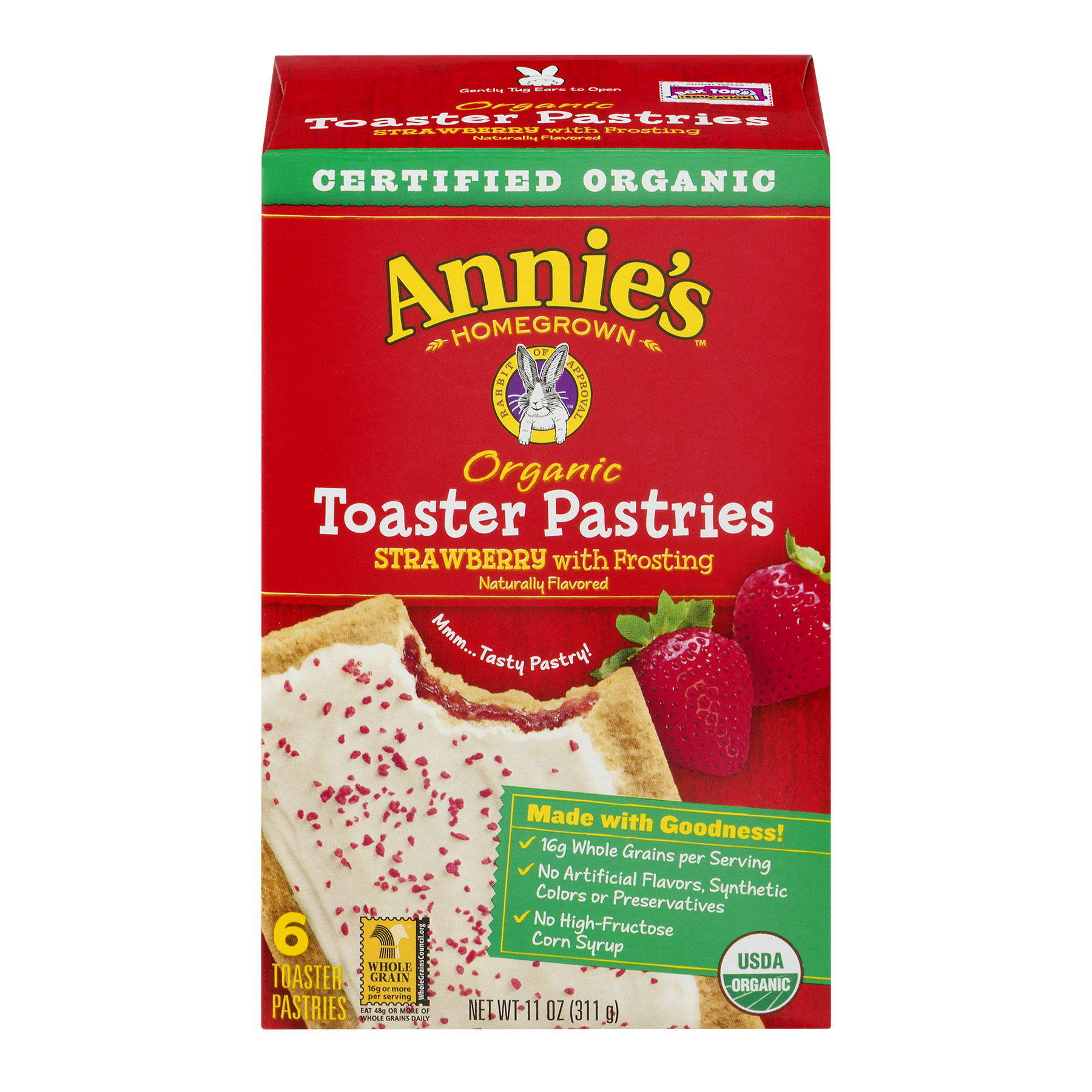 Annie's  Organic Toaster Pastries Strawberry With Frosting 11 oz
