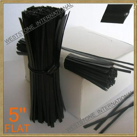 Plastic Twist Ties - 5 inch - Black - Bag of 125 (Clear Twist Ties)