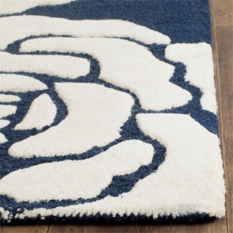 Safavieh Cambridge 8' X 10' Hand Tufted Wool Rug in Navy and Ivory - image 7 de 10