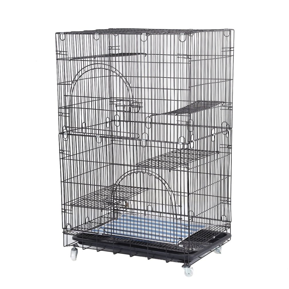 Large Cat Pets Wire Cage 2-tier Cat Playpen Cat Cage With 2 Climbing Ladders & 2 Rest Benches & Hammocks Cats Home, Black