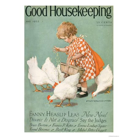 Animal Farm Cover (Good Housekeeping, May 1925 Magazine Cover Children Animals Country Farmhouse Laminated Print Wall)