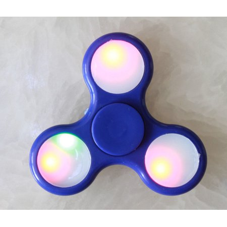 Tri Hand Spinner Fidget Spinners LED Light Up Blue Design Toy Stress Reducer Ball Bearing - May help with ADD, ADHD, Anxiety, and Autism Adult Children