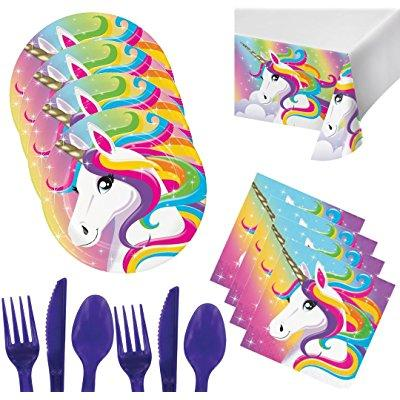 unicorn party supplies for 16 - plates, napkins, tablecloth ...