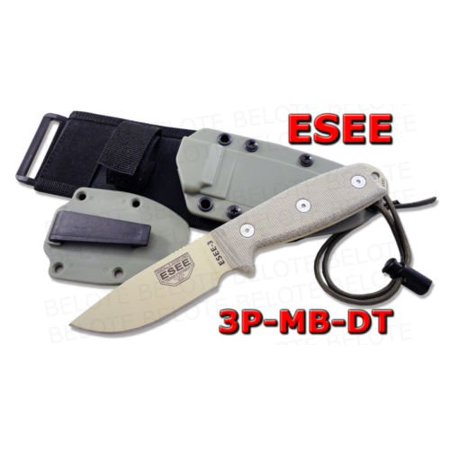 ESEE -3P with Modified Pommel Desert Tan Blades with Micarta Handles and OD Green Molle Sheath (Desert Tan Sheath)