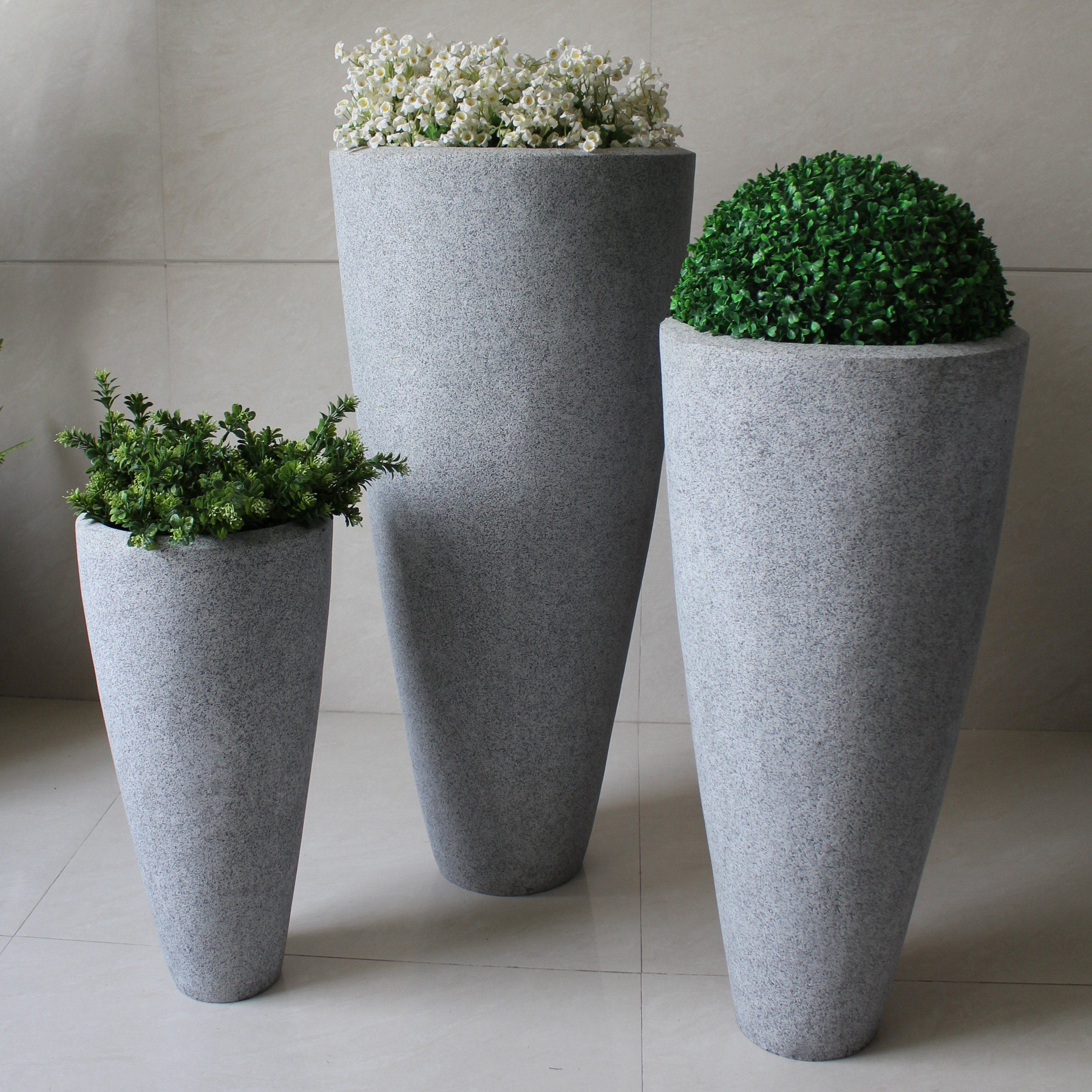 Screen Gems Long Conical Polished Granite Planter - Set of 3