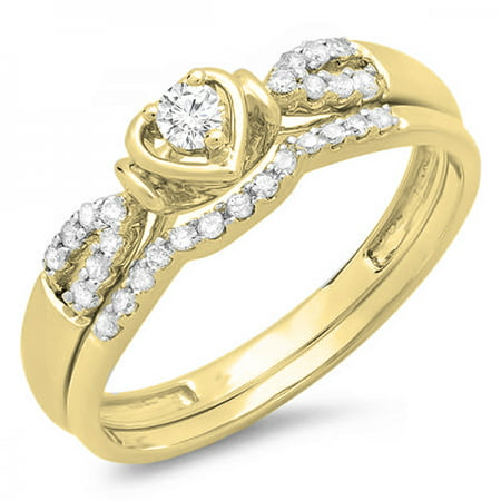 Dazzlingrock Collection 0.25 Carat (ctw) 10K Round Diamond Heart Shaped Bridal Engagement Ring Set 1/4 CT, Yellow Gold, Size 6.5 - Heart Shaped Bridal Set