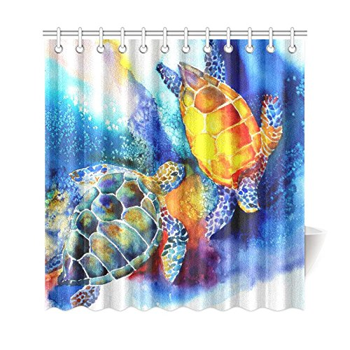 GCKG Watercolor Underwater Sea Turtle Shower Curtain Ocean Animals Turtoise Polyester Fabric Bathroom Sets 66x72 Inches