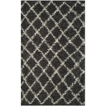 Safavieh Dallas Shag 3' X 5' Power Loomed Rug in Dark Gray and Ivory - image 1 de 10