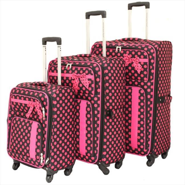 All-Seasons 86LW06-BK-PK Polka Dot Delight Expandable Lightweight Spinner Luggage Set, Black & Pink - 3 Piece