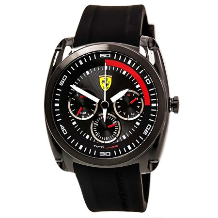Ferrari 0830320 Mens Tipo J 46 Sports Black Dial Black Ip Steel Black Silicone Strap Watch