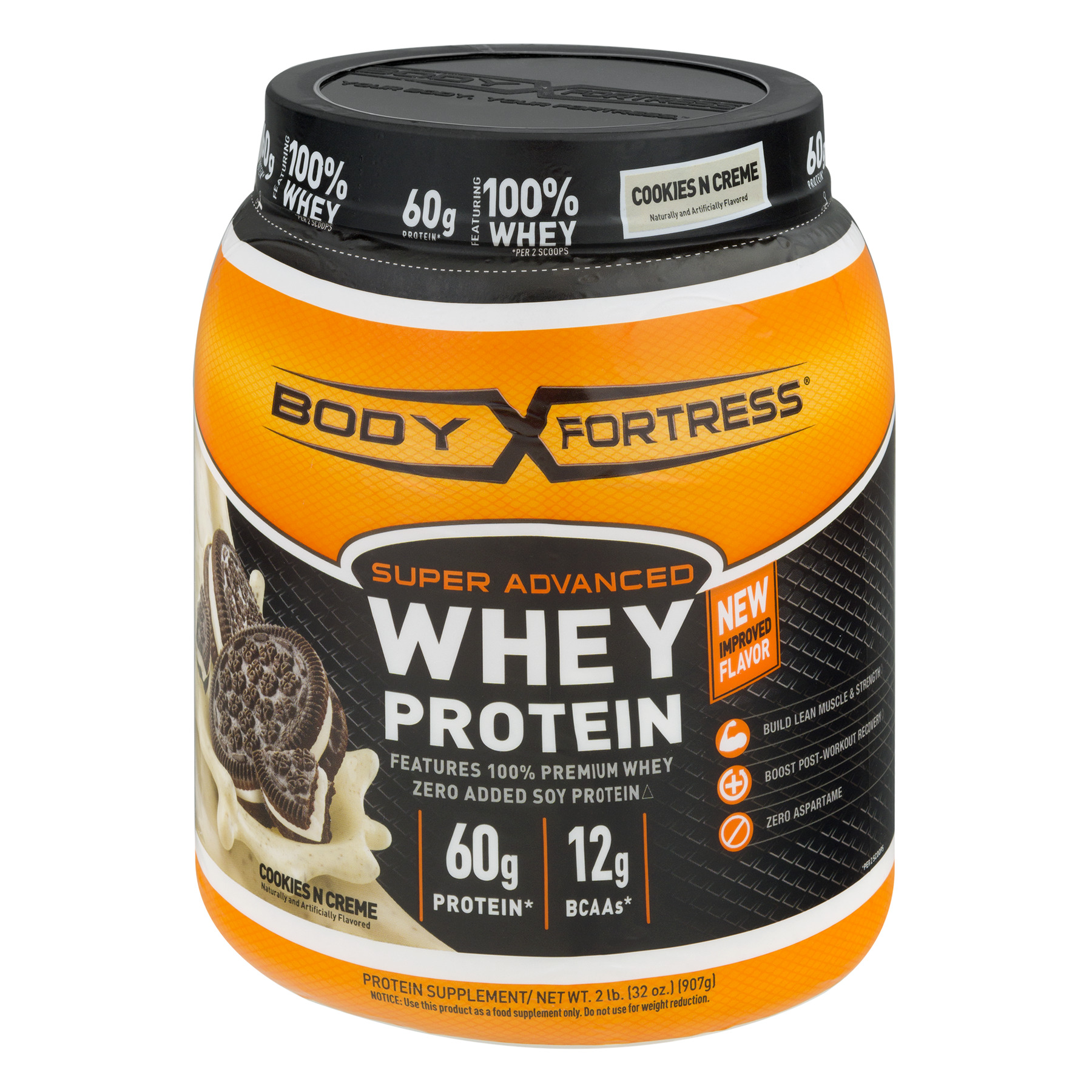 Body Fortress Super Advanced Whey Protein Powder, Cookies N' Creme, 60g Protein, 2 Lb