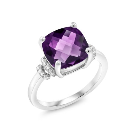 3.74 Ct Cushion Checkerboard Purple Amethyst 925 Sterling Silver Ring