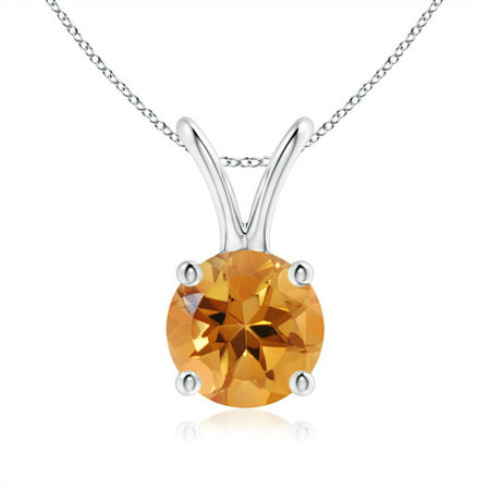 Angara Round Citrine Necklace Pendant in Platinum jItrxayqz