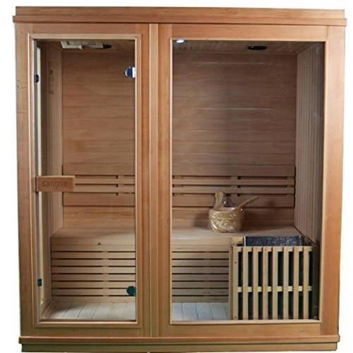 ALEKO STI4TURKU 4 Person Canadian Hemlock Wood Indoor Wet Dry Sauna with 4.5 KW ETL... by ALEKO