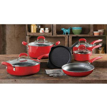 The Pioneer Woman Vintage Speckle Non-Stick Pre-Seasoned Red Cookware Set, 10 Piece