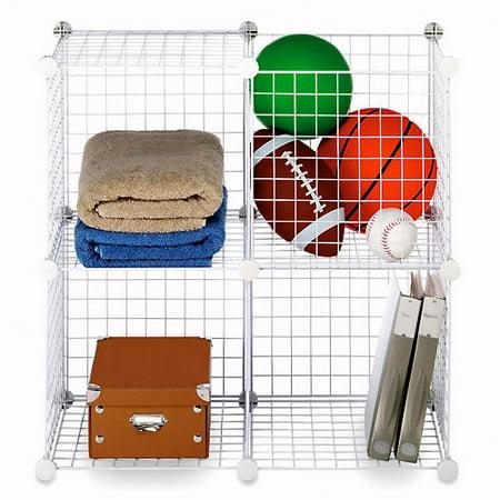 Whitmor Storage Cubes Stackable Interlocking Wire Shelves - Set of 4 -White - 14.25u0022 x 14.5u0022 x 14.5u0022