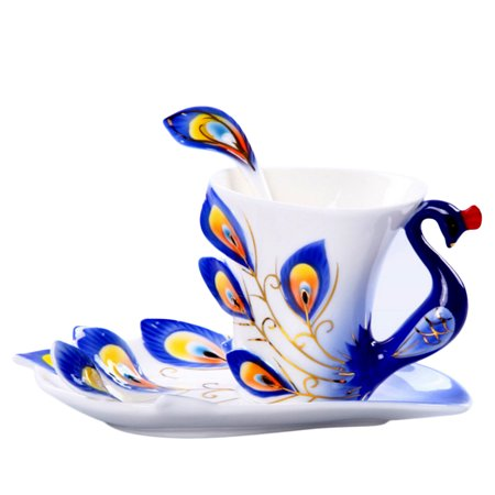 Hand Crafted Porcelain Enamel Delicate Peacock Tea Coffee Cup Set with Saucer and Spoon - Blue