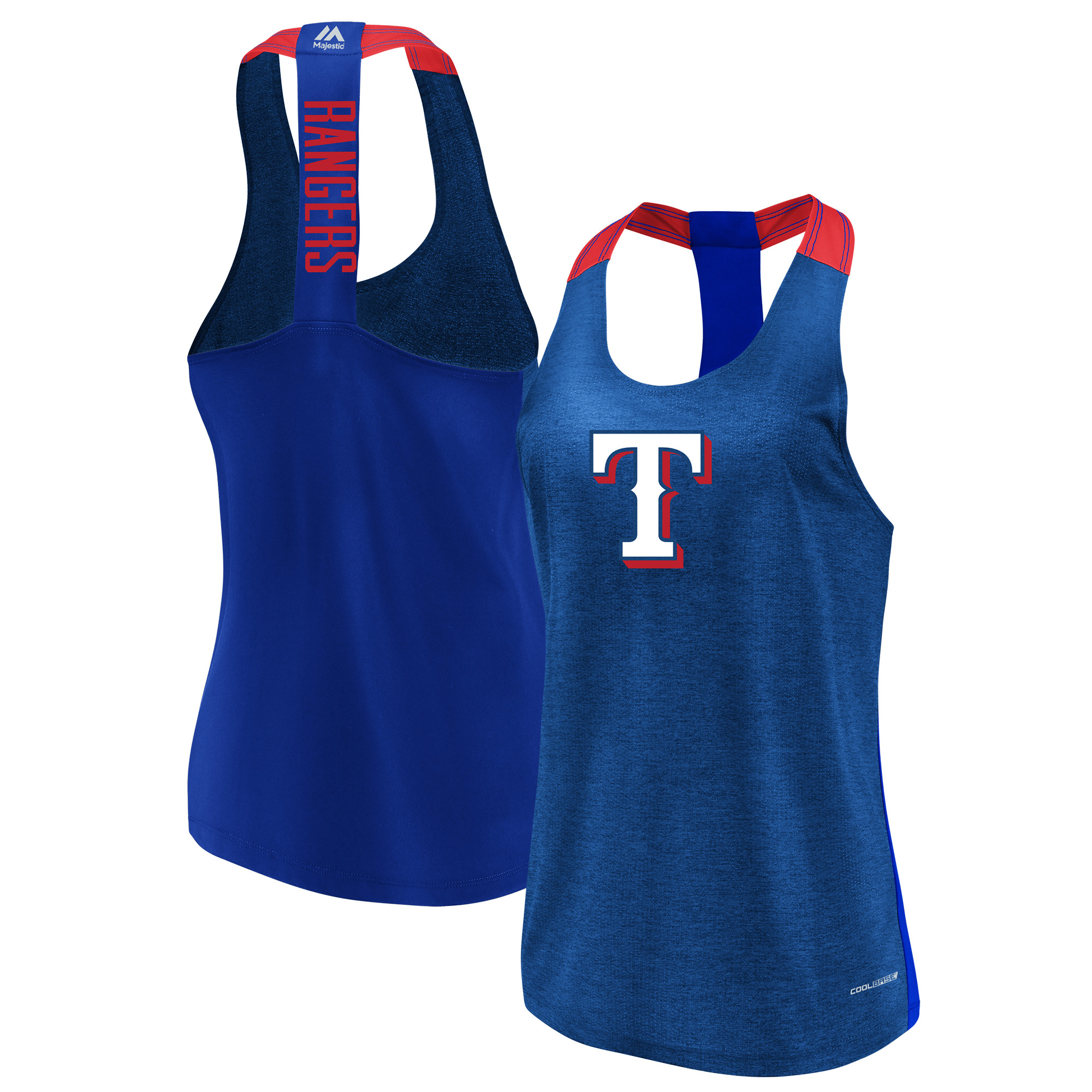 Texas Rangers Majestic Women's Desire More Cool Base Tank Top Heathered Royal by MAJESTIC LSG