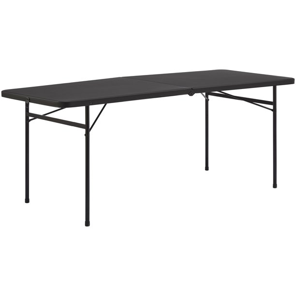 Mainstays 6 Foot Bi-Fold Plastic Folding Table, Black