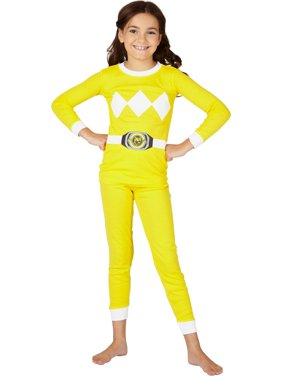 power rangers girls' yellow mighty morphin cotton tight fit pajamas