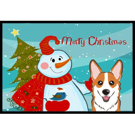 Carolines Treasures BB1874JMAT Snowman With Red Corgi Indoor & Outdoor Mat, 24 x 36 in. - image 1 de 1