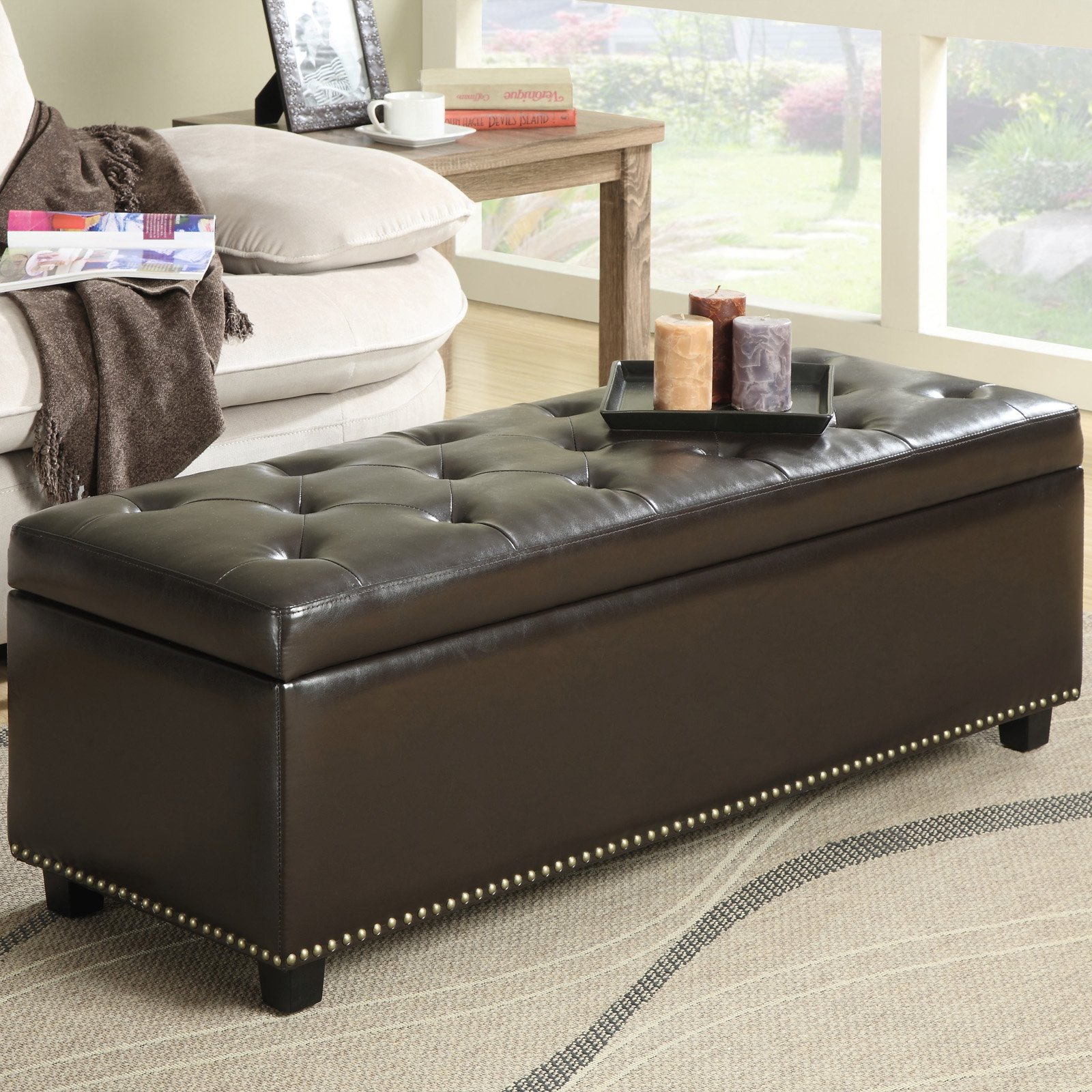 Tremendous Simpli Home Avalon Coffee Table Storage Ottoman With 4 Serving Trays Lamtechconsult Wood Chair Design Ideas Lamtechconsultcom