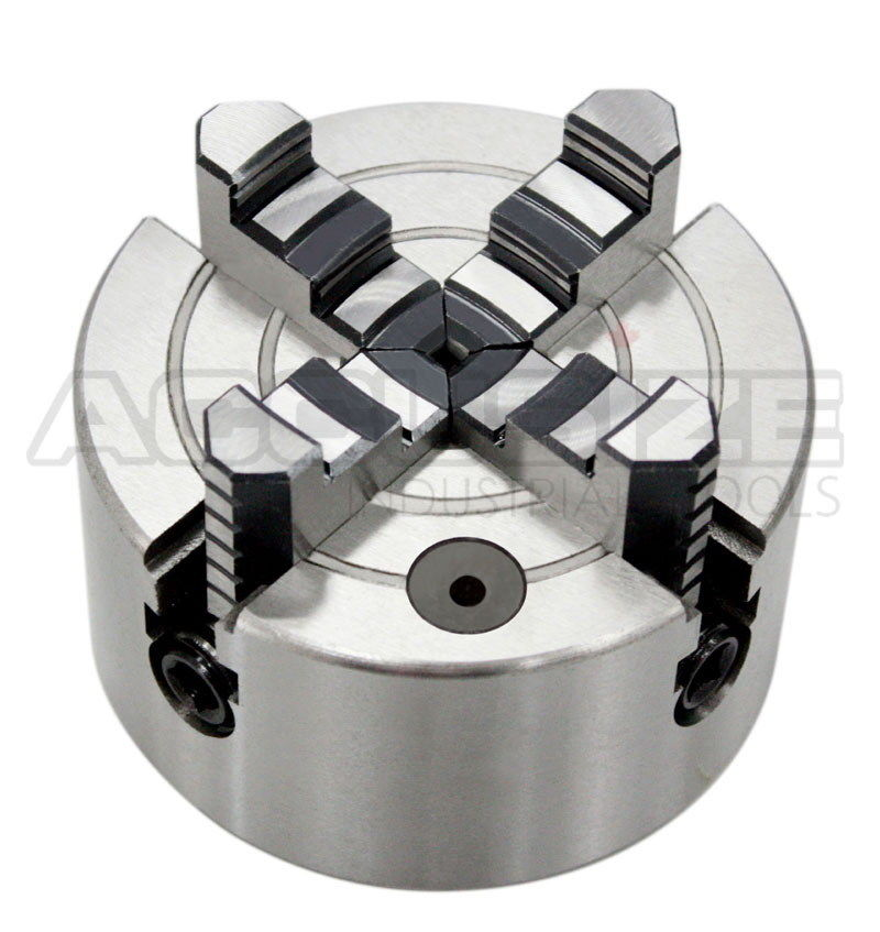 Accusize - 3'', 4'', 6'', 8'' and 10'' 4-Jaw Independent Lathe Chucks, Plain Back. Semi-steel body. Include one set of reversible jaws. (4'') - image 1 of 9