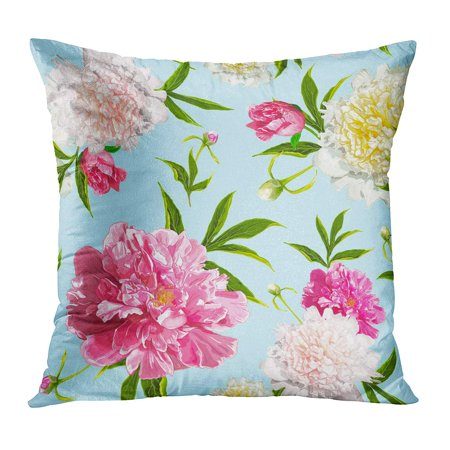 Blue Floral Pillowcases (ECCOT Green March Pink and Light Yellow Peonies Flowers on Blue Sketch for Floral Spring and Summer Composition Pillowcase Pillow Cover Cushion Case 16x16 inch )