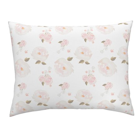 Pink Watercolor Floral Girl Nursery Decor Blush Rose Pillow Sham by Roostery ()