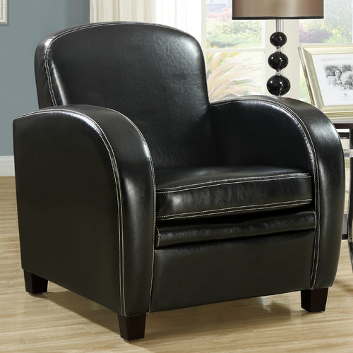 Steren Black Leather Accent Chair