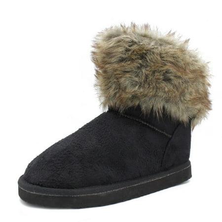 VLARA Women's Faux Sheepskin Fur Trimmed Black Winter Boots 6 Faux Sheepskin Boot