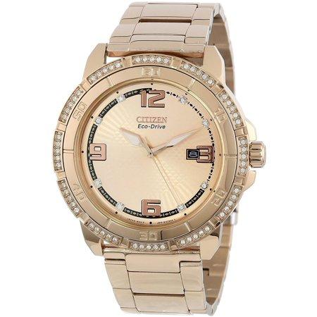 Men's 44mm Rose Gold-Tone Steel Bracelet & Case Quartz Analog Watch AW1343-54Q ()