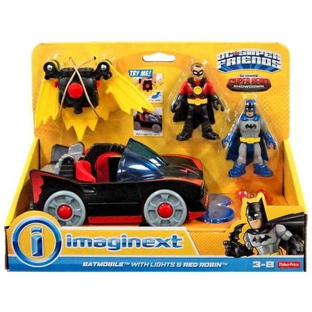 DC Super Friends Imaginext Batmobile Figure Set [with Lights & Red Robin]